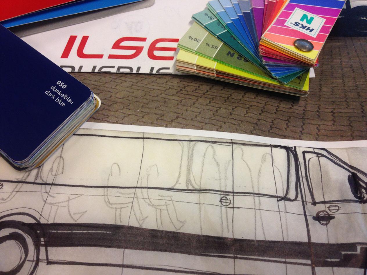 Ilse Rufbus corporate design wiessmann logo Fahrzeugbeschriftung