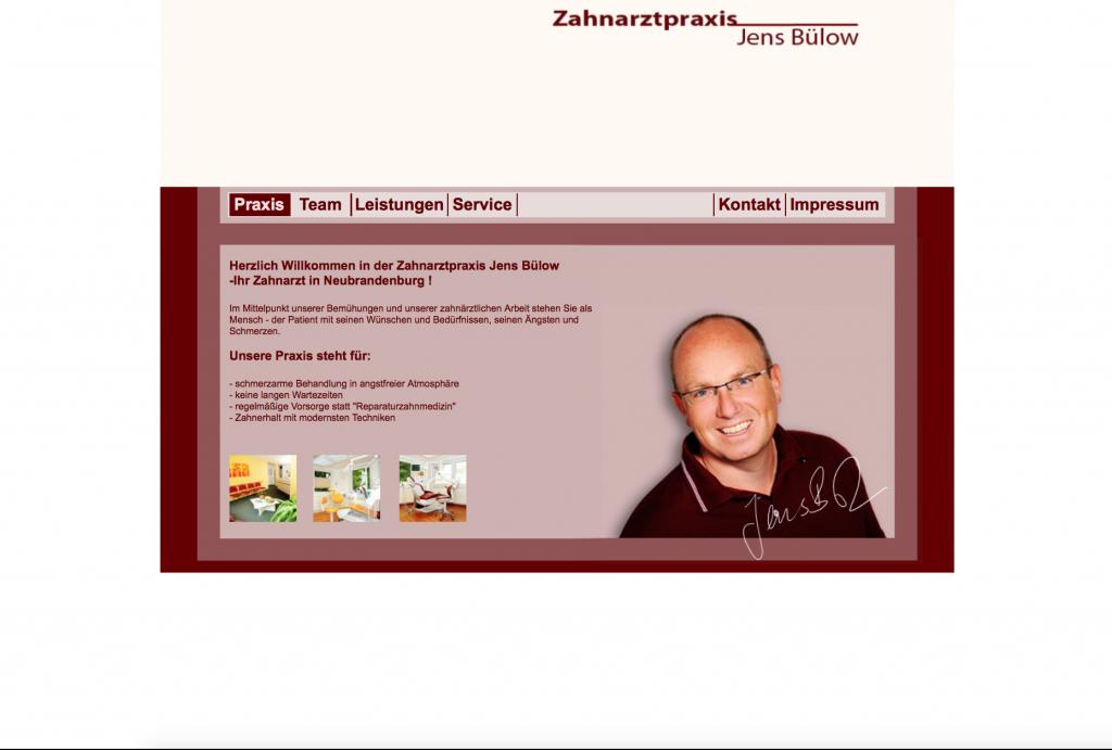 alte Webseite Zahnarzt-Neubrandenburg