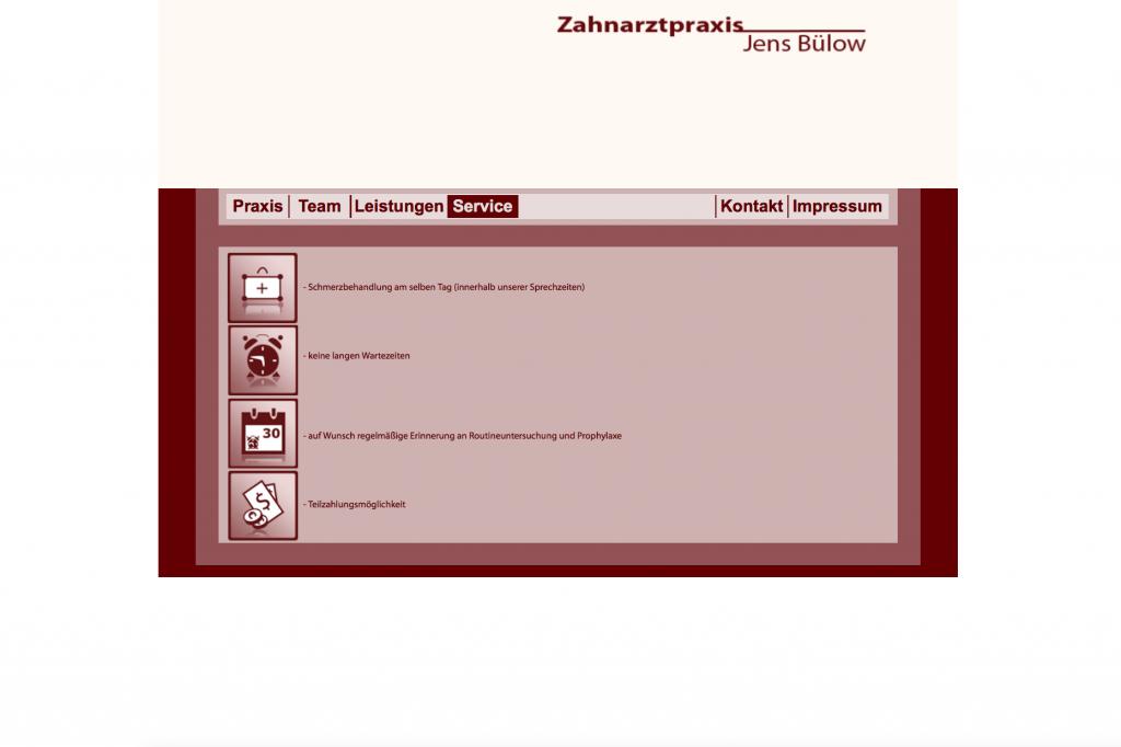 Alte Webseite Zahnarztpraxis Neubrandenburg